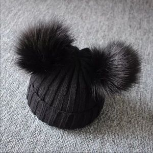 Black Knitted Baby Beanie with 2 Pom Poms